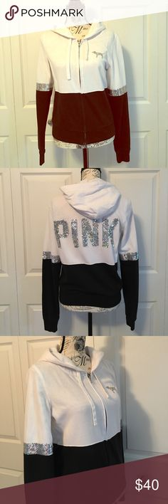 PINK sweatshirt Black, white and sequin zip up hoodie PINK Tops Sweatshirts & Hoodies