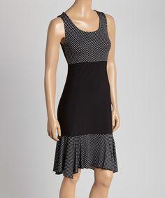 Another great find on #zulily! Black Polka Dot Sleeveless Dress - Women & Plus #zulilyfinds