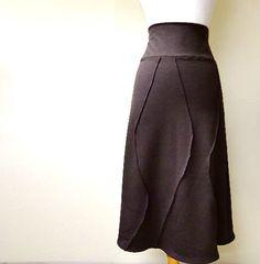 Origami skirt  basic a line skirt  brown skirt  organic by econica, $72.00