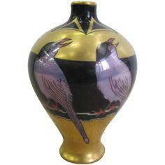Limoges Art Deco Black and Gold Hand-Painted Porcelain Vase, France 1