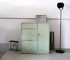Industrial Steelmaster Green File Cabinet with Side by Humemaze