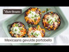 Grote champignons gevuld met een heerlijke vegetarische vulling met een Mexicaanse twist. Portobello, Vegan Baby, Huevos Rancheros, Food Inspiration, Healthy Recipes, Healthy Foods, Baked Potato, Food Porn, Food And Drink