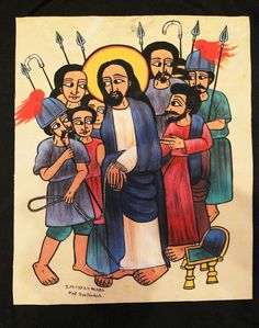Äthiopien: Leder Gemälde, Ikone. Ethiopia: Leather Painting, Icon. Icona Etiopia