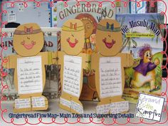 To retell in writing we made gingerbread man flow maps for beginning, middle, end. Blog post with lots of reading and writing ideas for a gingerbread unit.