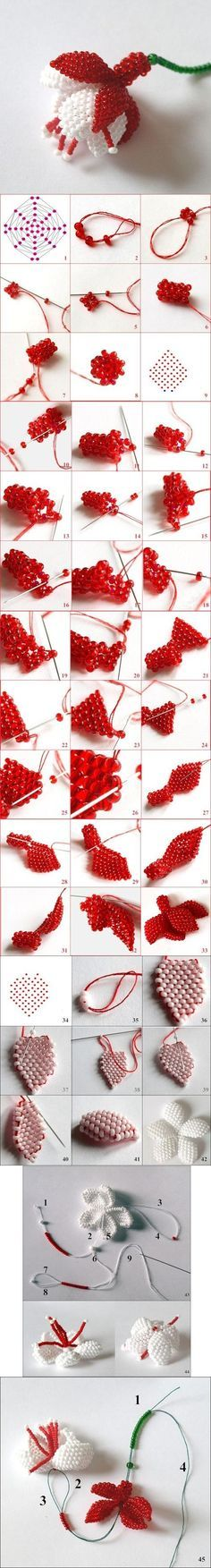 DIY Bead Fuchsia Flower. How to make a Beaded flowers / Схемы цветов из бисера