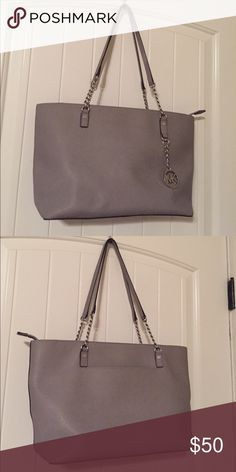 Michael Kors Purse Grey Purse with Silver Accents; PERFECT CONDITION! $50 obo Michael Kors Bags Shoulder Bags