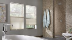 Turn your bathroom into a luxurious spa-like escape with beautiful cellular shades from your local Budget Blinds. Give us a call at or Modern Windows, Custom Windows, Woven Shades, Fabric Shades, Bathroom Window Coverings, Aluminum Blinds, Modern Window Treatments, Honeycomb Shades, Budget Blinds