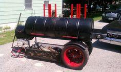 bbq grill smoker Love the wheels idea ! Bbq Pit Smoker, Barrel Smoker, Barbecue Pit, Bbq Grill, Grilling, Backyard Smokers, Backyard Bbq, Patio, Bar B Que Grills