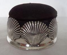 RARE VICTORIAN 1889 STERLING / SOLID SILVER SHELL / SCALLOP PIN CUSHION / BOX