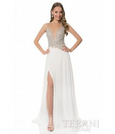 This is a stunning ivory A-line gown by Terani that is sure to have you feeling like a princess at your next event! The ...Price - $297.00-wUn2xI7c