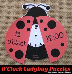 Boy Mama Teacher Mama: O'Clock Ladybug Puzzles {After School Linky}