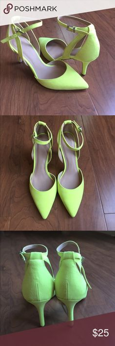 NEW!! ASOS stage-struck heels Chartreuse heels with ankle strap ASOS Shoes Heels