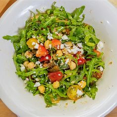 Try this Lemony Chickpea, Tomato and Goast's Cheese Salad recipe by Chef Michela Chiappa . This recipe is from the show Michela's Tuscan Kitchen. Salad Recipes, Diet Recipes, Cooking Recipes, Healthy Recipes, What's Cooking, Healthy Salads, Goat Cheese Recipes, Goat Cheese Salad, Chefs