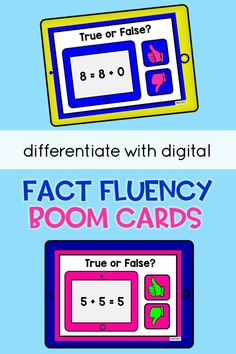 Fact Fluency - differentiate with digital! A HUGE set of Fact Fluency True and False digital task cards (Boom Cards)! Differentiate with these addition and subtraction math sets appropriate for… More