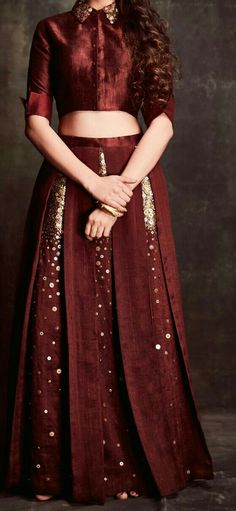 Latest Brown crop top & lehenga with a hand work and had a box pleats on lehenga. To customise this garment log on to www. Indian Attire, Indian Wear, Sari, Lehenga Blouse, Indian Dresses, Indian Outfits, Looks Plus Size, Lehenga Designs, Indian Designer Wear