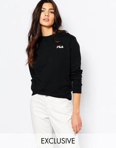 Fila | Fila Oversized Boyfriend Sweatshirt With Small Logo at ASOS