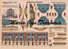 Vintage Reproduction D'Epinal Pellerin Villa Paper Model Cut Outs - Digital Download by MariaJoseTreasures on Etsy