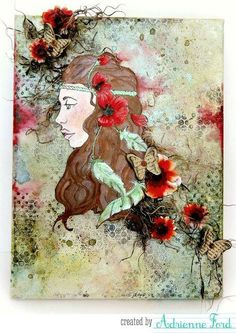 """Beautiful Wall art, using stamp """"Free Spirit"""" from Bloom Girl Stamp Collection."""