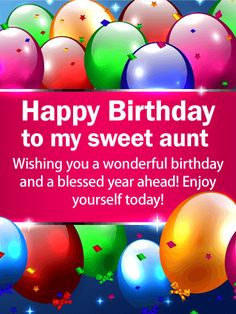 Bright Color Birthday Balloon Card for Aunt