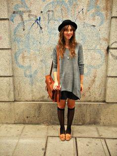 H Hat, H Sweater, Zara Skirt, Oysho Socks, Zara Moccasins, Vintage Satchel
