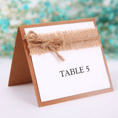 rustic burlap and kraft paper wedding place cards table numbers EWPC010