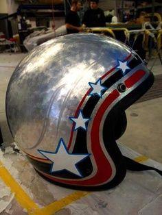 Custom half helmet, stars and stripes