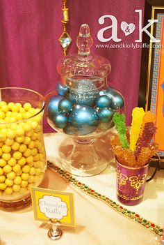 Gorgeous candy displays at a Bollywood Christmas party!  See more party ideas at CatchMyParty.com!  #partyideas #bollywood