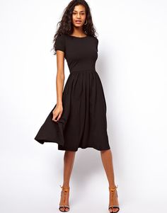 Our Editors Shop For Fall With $50 or Less fashion, style, midi dress, aso midi, dresses, shorts, black dress, short sleev, sleeves