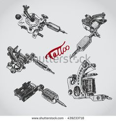 Set of different style realistic tattoo machines. Vintage old school collection.