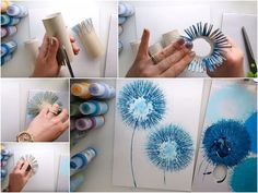 art diy If you want to pretty up a space with some homemade art but arent interested in potentially burning your house down in the process, perhaps these TP dandelions would be a good alternative Kids Crafts, Diy And Crafts, Arts And Crafts, Art Crafts, Paper Crafts, Cool Diy Projects, Art Projects, I Spy Diy, Homemade Art