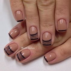 Nude and black lace inspired nail art design. Make your nude nail polish unique by adding lace details on the tips using thin strokes of black nail polish.