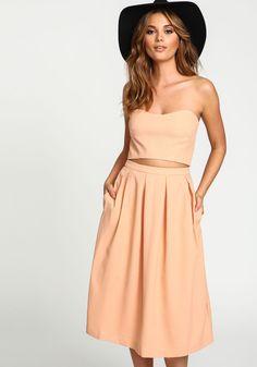 Peach Pleated Midi Skirt - Love Culture