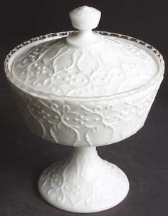 "Fenton ""Silver Crest Spanish Lace"" Pattern Footed Candy Dish with Lid (1968-1976)"