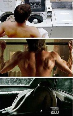 Misha Collins as Castiel / Jared Padalecki as Sam Winchester / Jensen Ackles as Dean Winchester / back shots / back appreciation post / back porn ❤