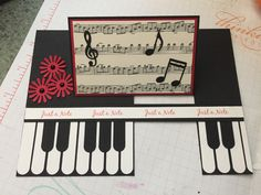 Our monthly card group's challenge for June is to make an Impossible Card. I saw a piano idea as a normal card and changed it to an Impossible card. I put a sentiment about music on the back. Flip Cards, Fun Fold Cards, Pop Up Cards, Folded Cards, Cricut Cards, Stampin Up Cards, Shaped Cards, Ink Stamps, Get Well Cards