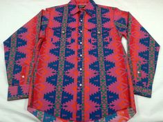 Wrangler western shirt 16 L cowboy cut indian blanket country music long tails in Clothing, Shoes & Accessories | eBay