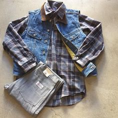 """90's Deadstock GAP Denim Vest $28+$16(shipping) domestic. Size  Large (26""""x23""""). Deadstock Carters Work Wear Pants W:31. $45+$16(shipping) & Modern Pendleton Shirt $65+$16(shipping) domestic. Size Large (34""""x25""""). Contact the shop at 415-796-2398 to purchase by phone or PayPal afterlifeboutique@gmail and reference item in post."""