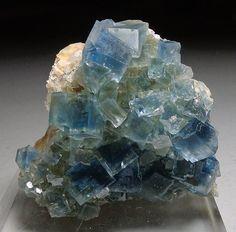 A specimen of fluorite from the La Barre mine, Puy-de-Dome, France.