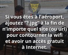 """If you're in an airport without free wifi, put """"?jpg"""" at the end of the url to get free wifi. Good To Know, Did You Know, Cool Science Facts, Disney Fun Facts, Sem Internet, Keep Calm And Love, Psychology Facts, Culture Travel, Things To Know"""