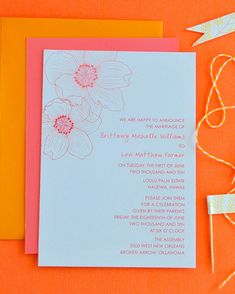 Perfect for a celebration at the sea, this invitation from Delphine Press,features hibiscus flowers, which often grow near the shore.