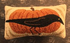 Primitive Needle Punch PATTERN Crow And Pumpkin by thetalkingcrow, $8.00