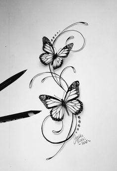 Butterflies filigree tattoo design - Tattoo-Ideen - Tattoo World Bild Tattoos, Body Art Tattoos, New Tattoos, Small Tattoos, Sleeve Tattoos, Tatoos, Vine Foot Tattoos, Tattoo Trend, Tattoo Ideas