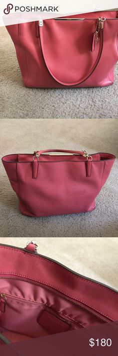 """Coach Madison Saffiano East/West Tote  in Coral Lovely Salmon colored Coach Madison Saffiano East/West Tote  12 L"""" x 10 1/2"""" W x 5"""" D trap drop 9 1/2"""" 2 slip in pockets and 1 zippered pocket. No rips, stains or tears, however, there is a small scuff on the back side as shown in the last photo, that happened when I took a nasty trip over a concrete sidewalk. Coach Bags Totes"""