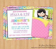 Girls Sleepover Slumber Birthday Party Invitation, Printable