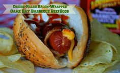 Cheese-Filled Bacon-Wrapped Game Day Barbecue BeefDogs from Wildflour's Cottage Kitchen!