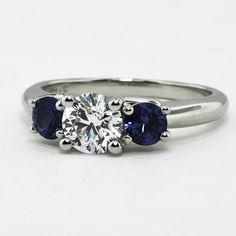 Three Stone Diamond & Sapphire Trellis Ring