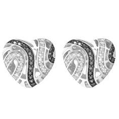 Sterling Silver Black &White Designer 3D Heart Shape Push Back Earrings
