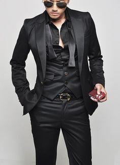 Anthony Wool Gabardine Skinny Suit with Vest (optional price)