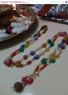 ON SALE Vedic Arts 9 Planets Vintage Mala  ! supports an ashram in rural india http://www.ashramaamma.tumblr.com