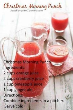 Christmas Morning Punch Christmas Morning Punch,Getränke Sounds like a good brunch addition maybe ginger ale for the kids and sparkling wine for adults. Related Easy Punch Recipes For a Crowd - Simple Party. Holiday Drinks, Fun Drinks, Yummy Drinks, Healthy Drinks, Holiday Recipes, Holiday Punch, Christmas Cocktails, Holiday Parties, Brunch Drinks